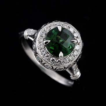 14k White Gold Pave Burnish Set Diamond Cabochon Green Tourmaline Art Deco Style Engagement Ring...