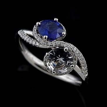 """You & Me"" 14K White Gold Diamond Blue And White Sapphire Split Shank Engagement Ring..."