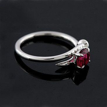 14k White Gold Pink Tourmaline Nail Shaped Shank Modern Engagement Ring...