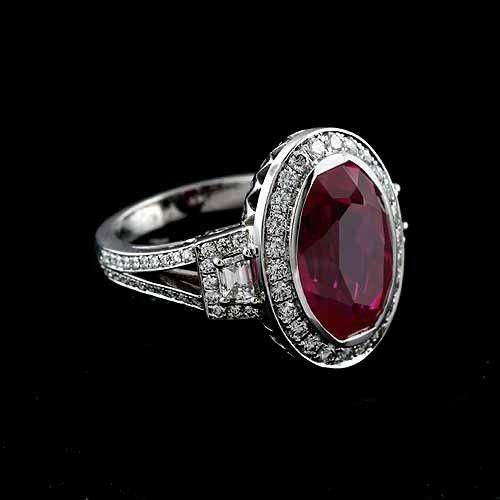18K White Gold Oval Bezel Pink Tourmaline Pave Diamond Halo Engagement Ring Mounting Setting...
