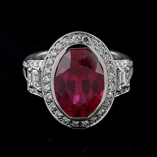 18K White Gold Oval Bezel Pink Tourmaline Pave Diamond Halo Engagement Ring Mounting Setting...