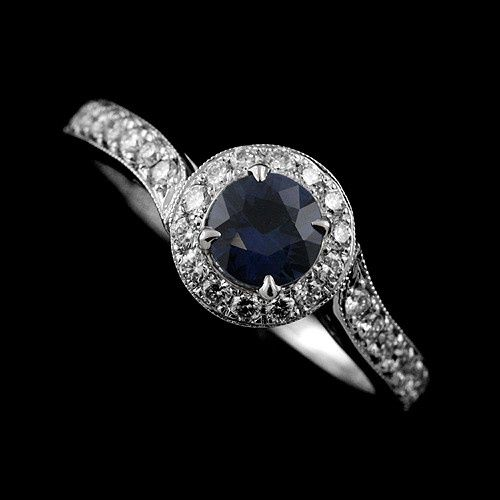 Blue Round Sapphire Asymmetrical Micro Pave Diamonds Engagement Ring 14K White Gold...