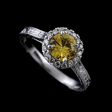 Diamond Round Yellow Sapphire Engraved Vintage Style Engagement Ring...