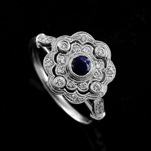 Pave And Bezel Set Diamonds Round Blue Sapphire Art Deco Style Flower 18K Gold Engagement Ring...