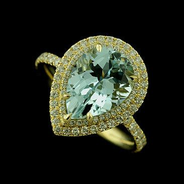 Pear Shape Aquamarine Diamond Cut Down Micro Pave 18k Yellow Gold Engagement Ring...