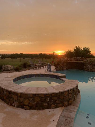 Romantic landscape at sunset