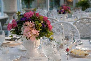 hot pink roses pink hydrangea purple statice buplr