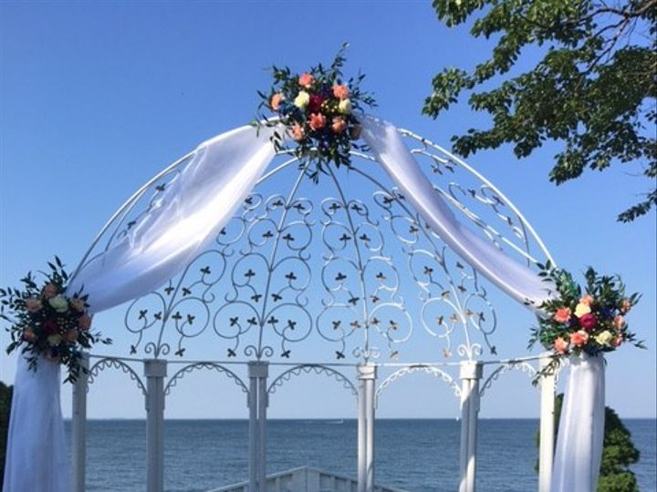 Tmx 1467389710108 Arch With Organza Corals And Blues Pasadena, Maryland wedding florist