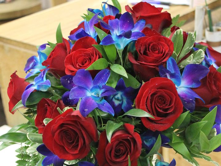 Tmx 1469639273153 Blue Dendrobium Orchids And Red Roses Pasadena, Maryland wedding florist