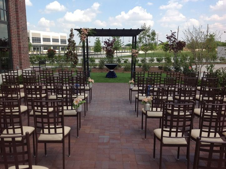 A ceremony on the patio