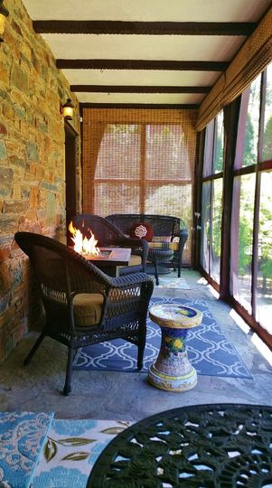 Enjoy the porch and beautiful fire pit.