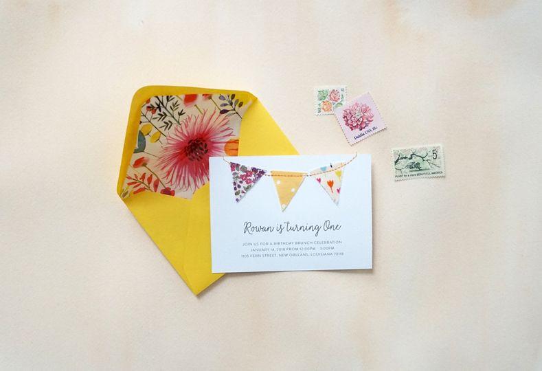 Hand Sewn Birthday Invitation