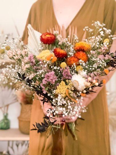 Dried flowers bridal bouquet
