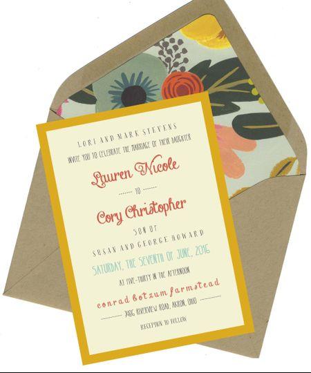 mint floral invite set