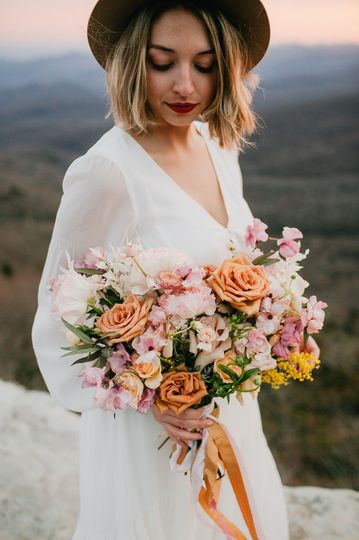 Mustard and pink styled shoot