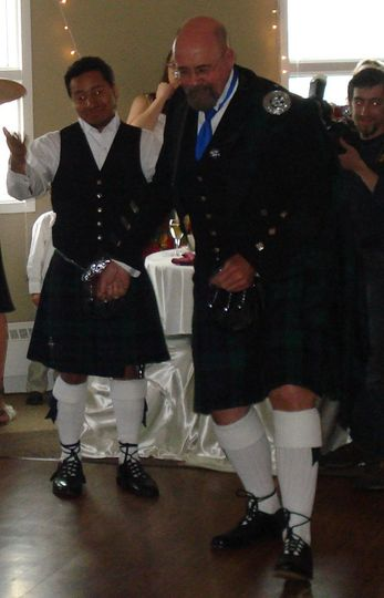 Sexiest Kilt Contest at a Wedding Reception at Lands End in Homer, AK