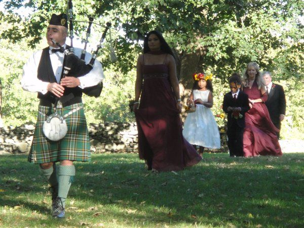 Jennifer and Andre - processional with bagpipes