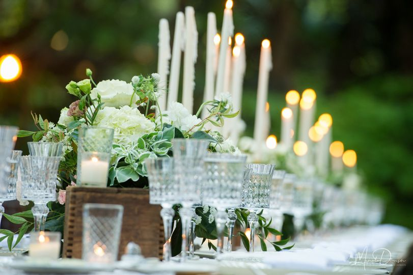 Long table set up with candles