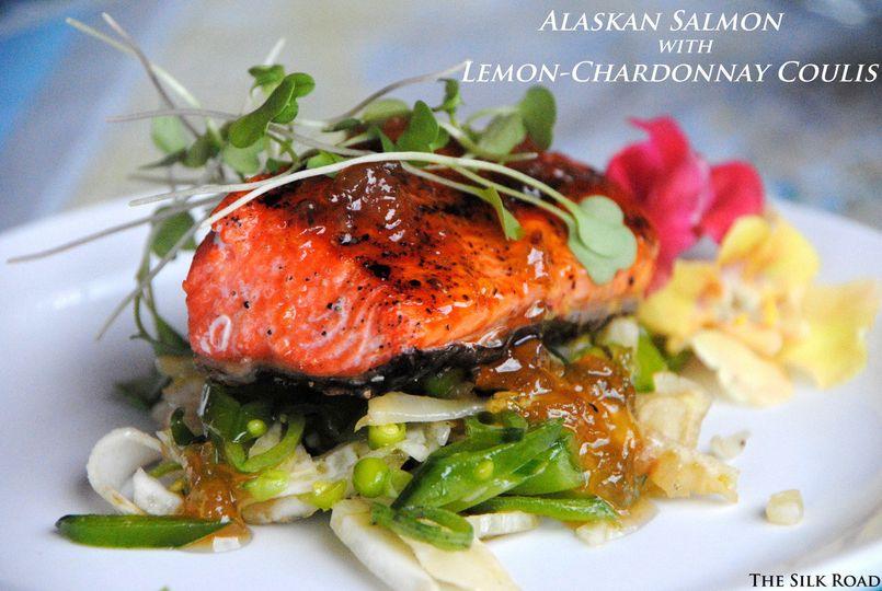 Alaskan salmon with lemon  chardonnay coulis
