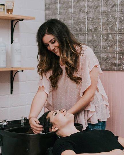Washing her hair