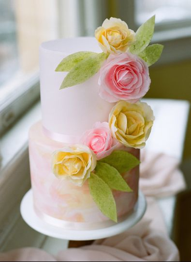 Painted cake with wafer flower