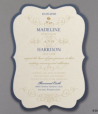 Gorgeous shaped invitation from Carlson Craft