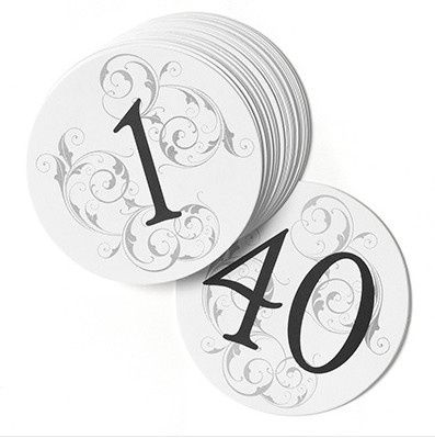 Different styles of table numbers available at Unique Invitations.