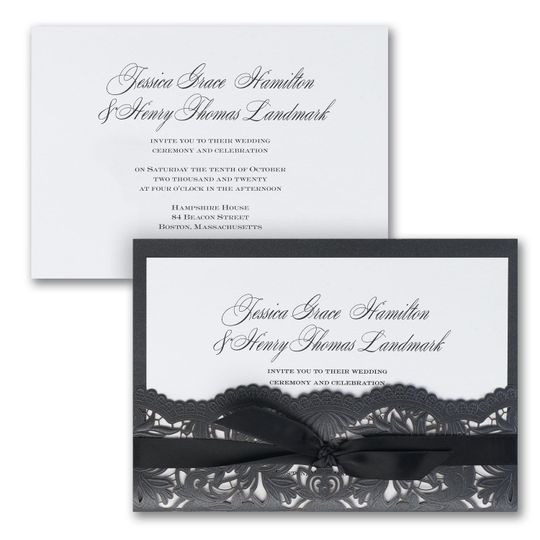Shimmering Elegance - The beauty of laser cutting is exhibited on this shimmering invitation of...