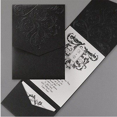Tmx 1452537277076 Black Textured Pocket Philadelphia, Pennsylvania wedding invitation