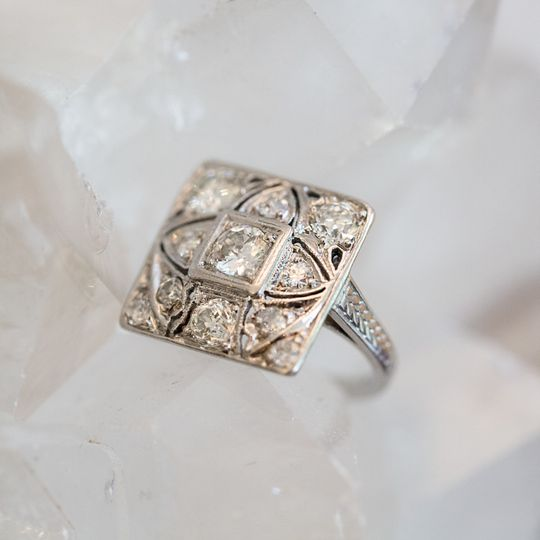 Square ring with intricate design