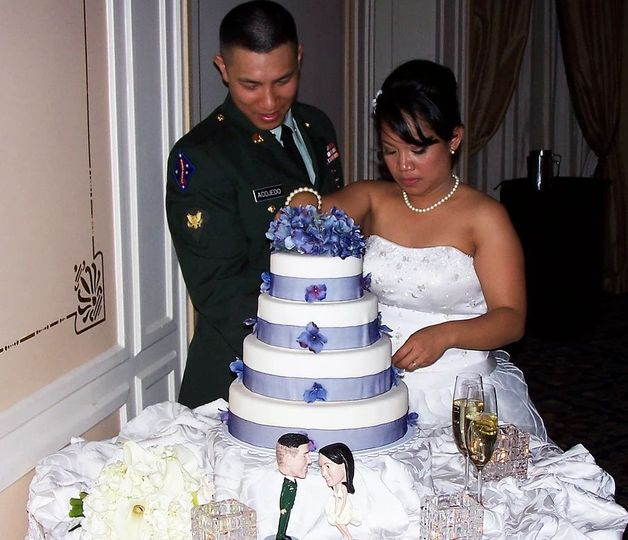 Couple slicing their cake