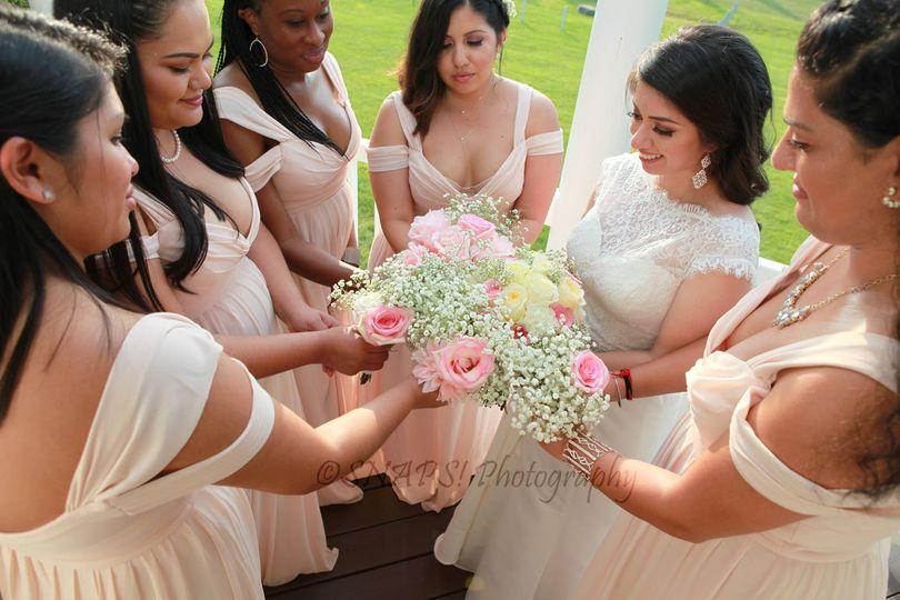 Admiring the bouquet