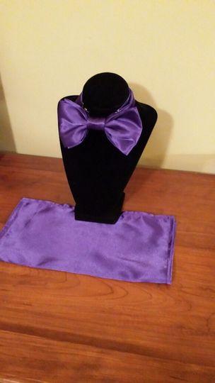 bold purple bowtie handkerchief set