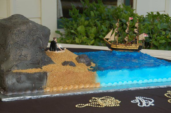 Sculpted Pirate Themed Wedding Cake