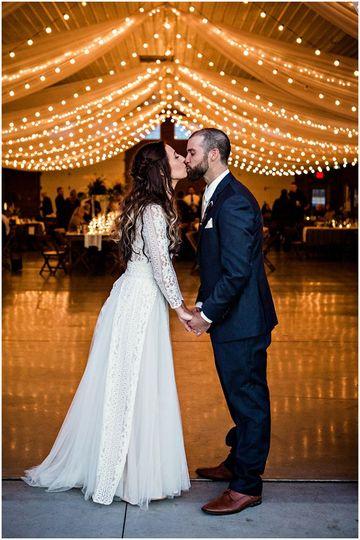 Newlyweds kissing