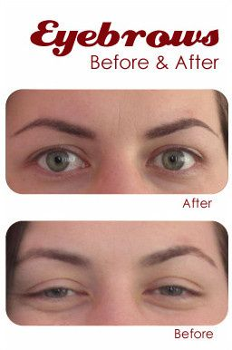Permanent makeup before and after photo - eyebrows.