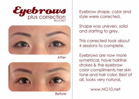 Permanent makeup before and after photo - eyebrows - correction.