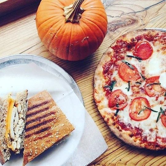 Pizza and grilled sandwich