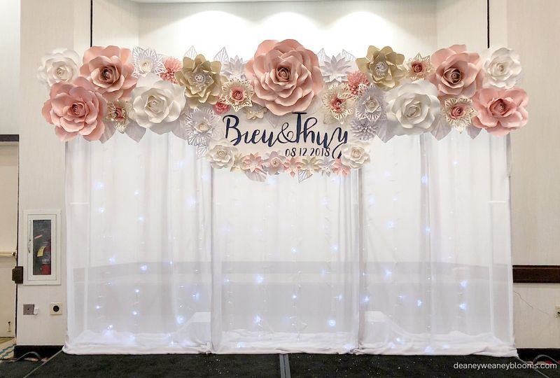 Semi flower wall with drapes