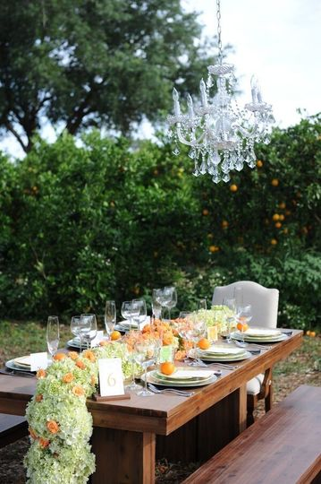 Outdoor wooden table setup