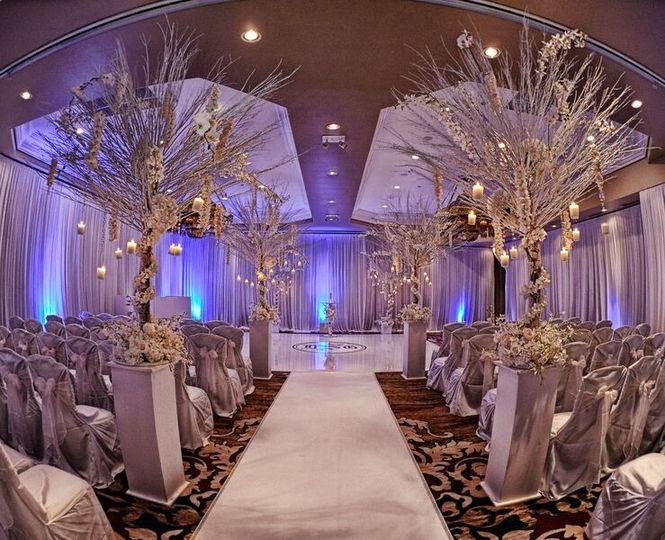 Elegant white wedding setup
