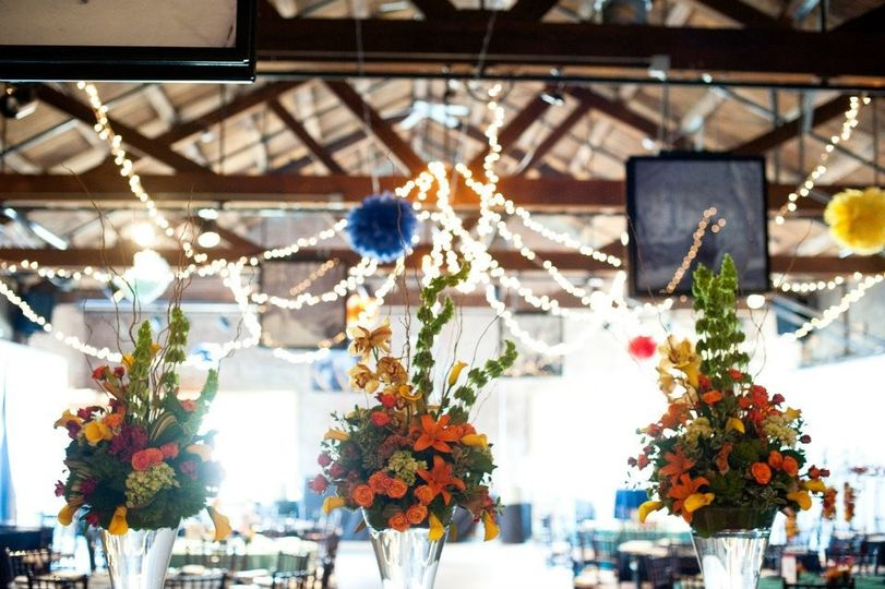 Floral decor and string lights