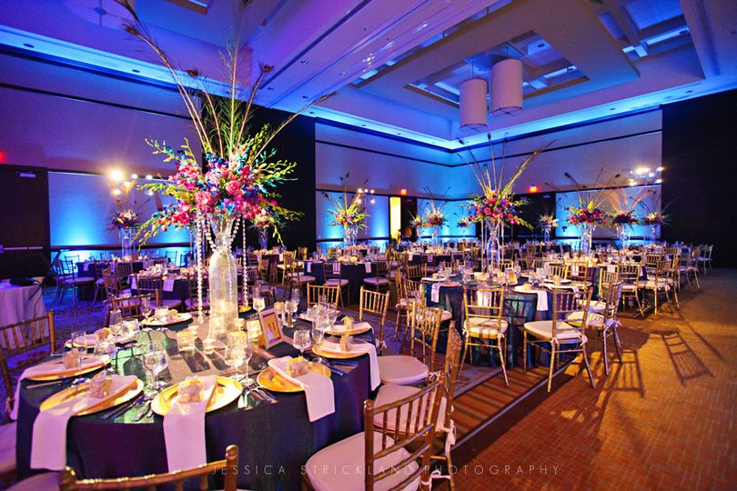 Reception hall decor and lighting