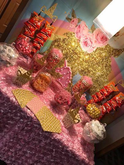 Unicorn candy buffet