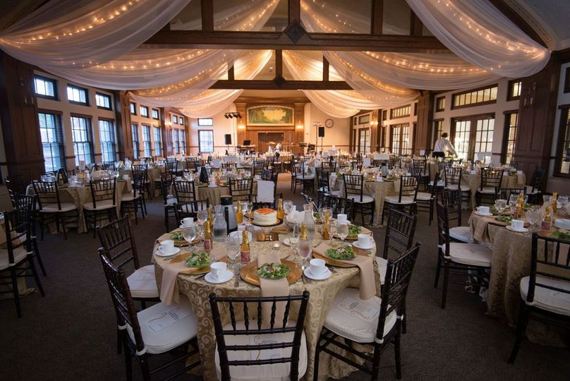 Reception hall lighting and drapes