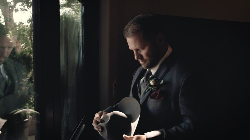 Cinematic groom shot