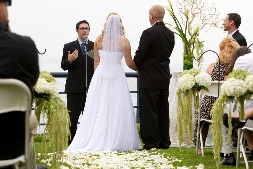 At a coastal wedding