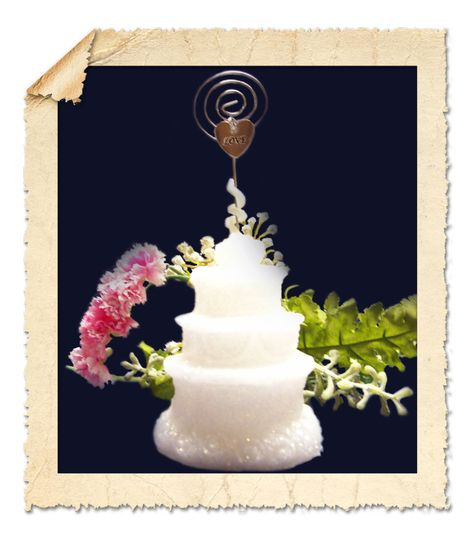 Wedding Cake Candle Place Card Holder.  Sparkled with iridescent glitter and accented with a silver...