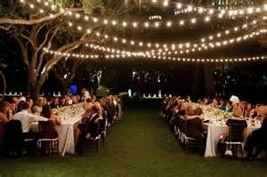 String lights above the reception