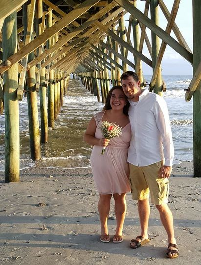 Vow renewal at Folly Beach